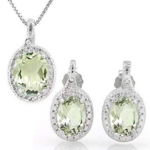 MASSIVE 3 CARAT GREEN AMETHYST 925 STERLING SILVER SET - Wholesalekings.com