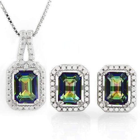 MASSIVE 3 CARAT OCEAN MYSTIC GEMSTONES &   GENUINE DIAMONDS 925 STERLING SILVER - Wholesalekings.com