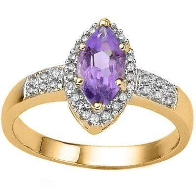 MESMERIZING 0.8 CARAT  AMETHYST & GENUINE DIAMOND SET IN 24K GOLD PLATED SILVER RING wholesalekings wholesale silver jewelry