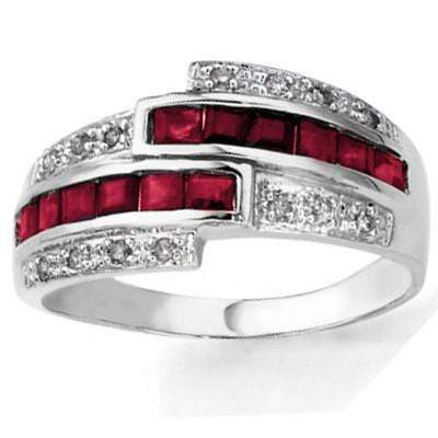 MESMERIZING 0.88 CT GENUINE RUBY & 2 PCS WHITE DIAMOND 0.925 STERLING SILVER W/ PLATINUM RING wholesalekings wholesale silver jewelry
