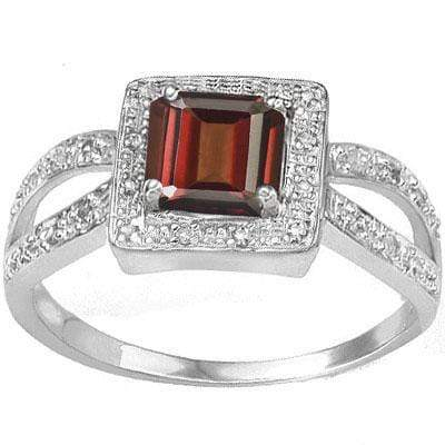 MESMERIZING 0.96 CARAT TW (3 PCS) GARNET & GENUINE DIAMOND PLATINUM OVER 0.925 STERLING SILVER RING - Wholesalekings.com
