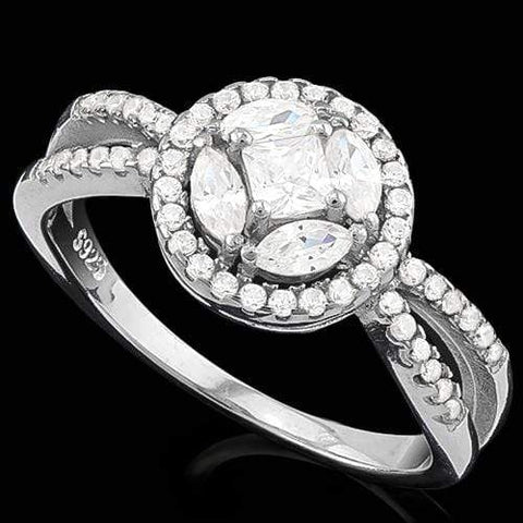 MESMERIZING ! 1 1/2 CARAT (57 PCS) FLAWLESS CREATED DIAMOND 925 STERLING SILVER RING wholesalekings wholesale silver jewelry