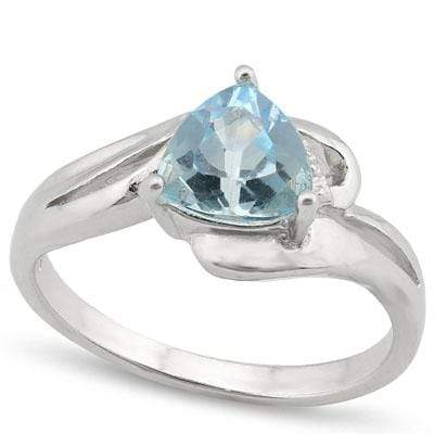 MESMERIZING 1.355 CARAT TW  BLUE TOPAZ & GENUINE DIAMOND PLATINUM OVER 0.925 STERLING SILVER RING - Wholesalekings.com