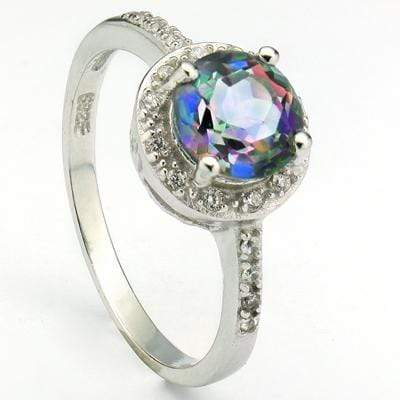 MESMERIZING 1.40 CT BLUE MYSTIC GEMSTONE & 20 PCS CREATED WHITE SAPPHIRE  PLATINUM OVER 0.925 STERLING SILVER RING - Wholesalekings.com