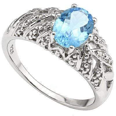 MESMERIZING 1.60 CT BLUE TOPAZ & 2 PCS WHITE DIAMOND PLATINUM OVER 0.925 STERLING SILVER RING - Wholesalekings.com