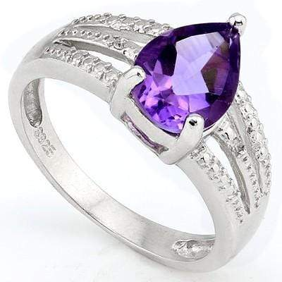 MESMERIZING 1.66 CT AMETHYST & 2 PCS WHITE DIAMOND 0.925 STERLING SILVER W/ PLATINUM RING - Wholesalekings.com