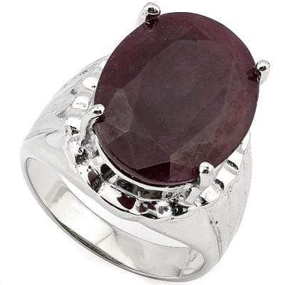 MESMERIZING 10.00 CT GENUINE RUBY PLATINUM OVER 0.925 STERLING SILVER RING - Wholesalekings.com