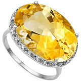 MESMERIZING 11.65 CT CITRINE & 18 PCS WHITE DIAMOND 10K SOLID WHITE GOLD RING wholesalekings wholesale silver jewelry