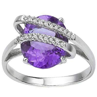 MESMERIZING 3.64 CT AMETHYST & 22 PCS WHITE DIAMOND 10K SOLID WHITE GOLD RING - Wholesalekings.com