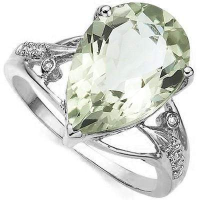 MESMERIZING 4.90 CT GREEN AMETHYST & 2 PCS WHITE DIAMOND PLATINUM OVER 0.925 STERLING SILVER RING - Wholesalekings.com