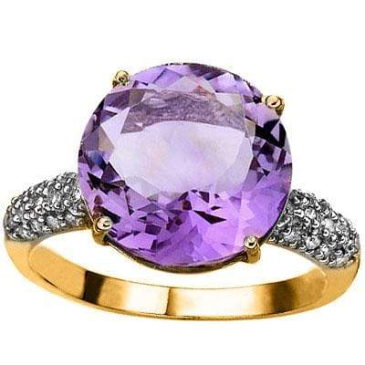 MESMERIZING 5.45 CARAT TW (31 PCS) AMETHYST & GENUINE DIAMOND 10K SOLID YELLOW G - Wholesalekings.com