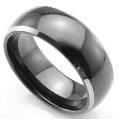 MESMERIZING BLACK PLATED DOME SHAPE WITH BEVELED EDGE CARBIDE TUNGSTEN RING - Wholesalekings.com