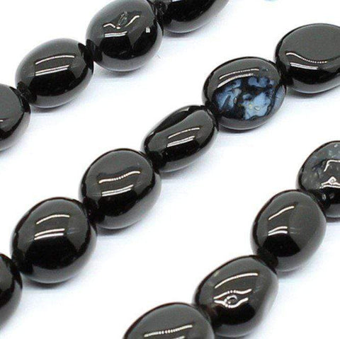 Natural Black Agate 6-8mm Free-form Beads Single Strand for DIY Jewelry - Wholesalekings.com