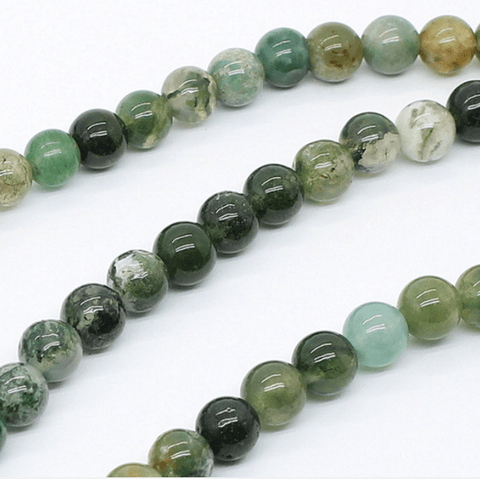 Natural Moss Agate 8mm Round Beads Single Strand for DIY Jewelry wholesalekings wholesale silver jewelry