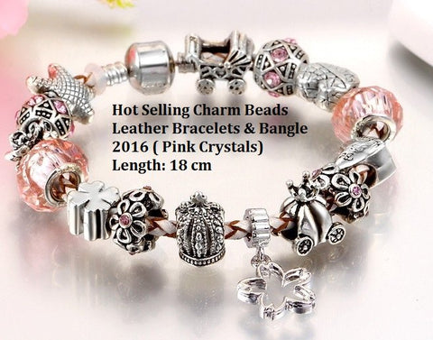 Murano Glass Beads Fashion German Silver Bracelet With Austraian Crystal Stones ( Pink Crystals)