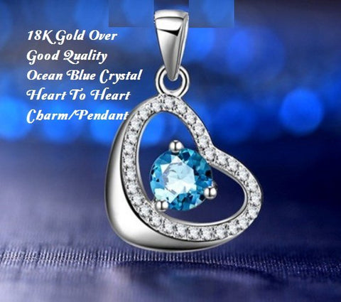 18K Gold- Over Good Quality Ocean Blue Crystal Heart To Heart Charm/German Silver Pendant