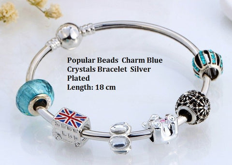 Popular Fashion German Silver Bead Charm Bracelet With Red, Blue UK Union Jack Flag Bus Bead