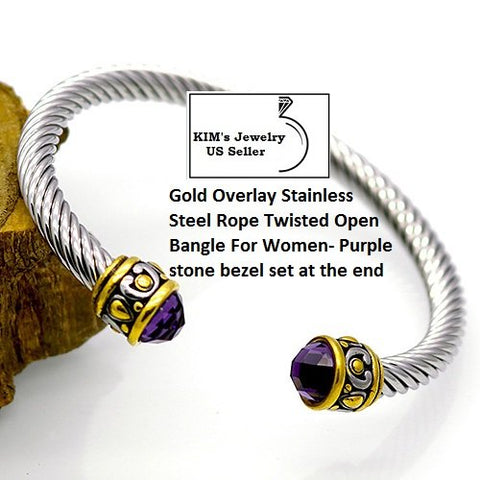 Purple Stone 18k Gold- Overlay Stainless Steel Rope Twisted Open German Silver Bangle