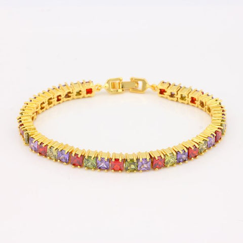 Yellow Gold Plated Brilliant Multi-color Square Shape Crystal Bracelet 7 Inches