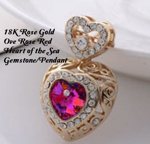 18K Rose Gold- Over Rose Red and White Crystal Heart of the Sea German Silver Pendant