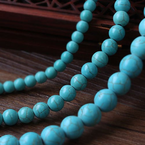 Turquoise 8mm Round Beads Single Strand for DIY Jewelry