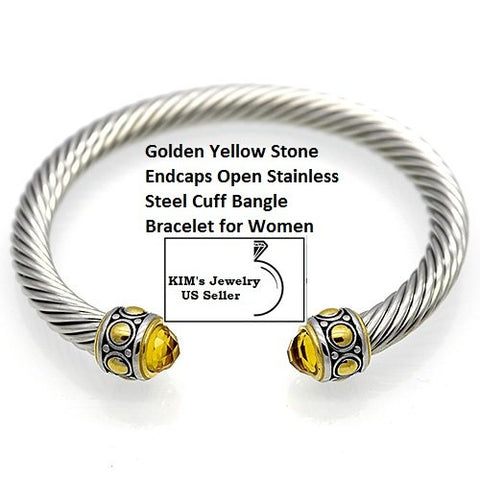 Gold-en Yellow Stone 18k Gold- Overlay Stainless Steel Rope Twisted Open German Silver Bangle