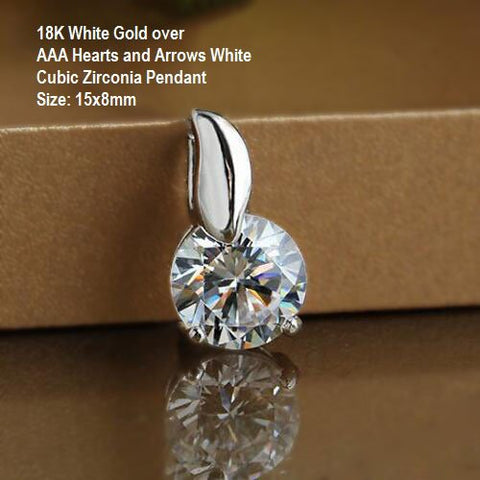 US 18K White Gold- over AAA Hearts and Arrows White Cubic Zirconia German Silver Pendant Size: 15x8mm