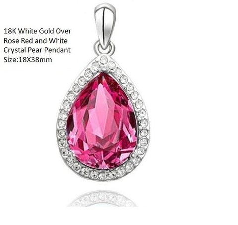 18K White Gold- Over Rose Red and White Crystal Pear German Silver Pendant
