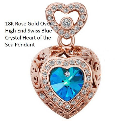 18K Rose Gold- Over High End Swiss Blue Crystal Heart of the Sea German Silver Pendant