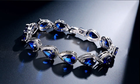 14KT High Quality White Gold Plated Blue Zicron Ladies bracelet 7 inches