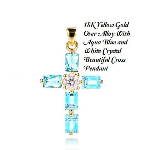 18K Yellow Gold- Over Alloy With Aqua Blue and White Crystal Beautiful Cross German Silver Pendant