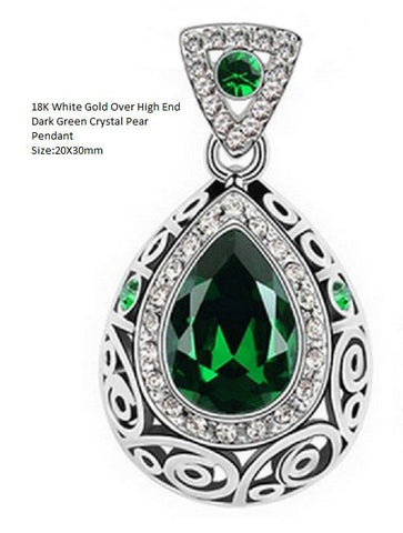US/HK 18K White Gold- Over High End Dark Green Crystal Pear German Silver Pendant