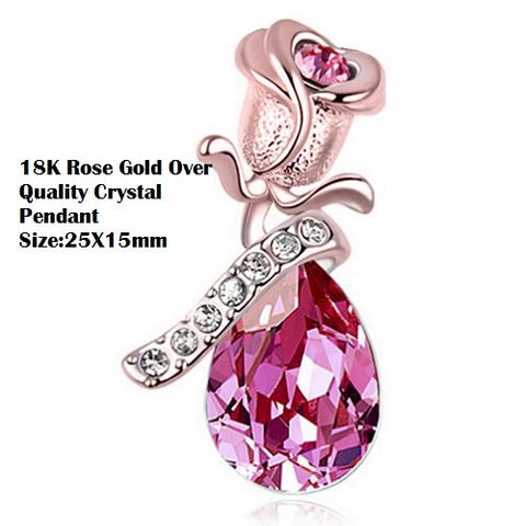 18K Rose Gold- Over Quality Pink Crystal Pear Angel Tear German Silver Pendant Charm