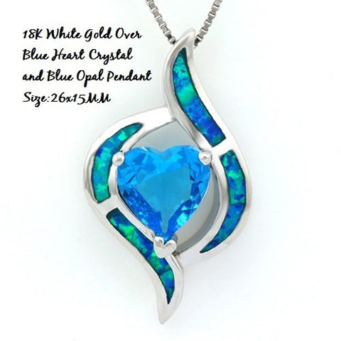 18K White Gold- Over Blue Heart Crystal and Opal German Silver Pendant Size:26x15MM