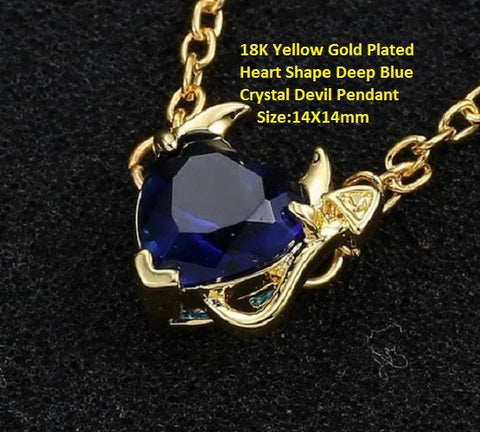 18K Yellow Gold- Plated Heart Shape Deep Blue Crystal Devil German Silver Pendant