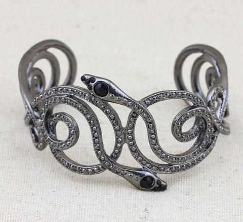 Flawless Black Snake Shape Spiral Design Rhinestone Embellished Alloy German Silver Bracelet