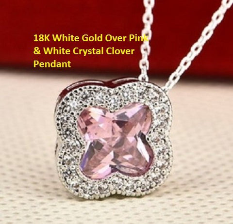 18K White Gold- Over Pink & White Crystal Clover German Silver Pendant