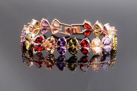 14KT High Quality Rose Gold Plated Multi Color Zicron Ladies bracelet