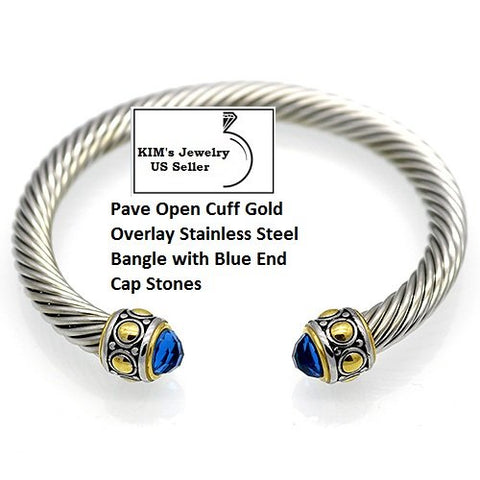 Blue Stone 18k Gold- Overlay Stainless Steel Rope Twisted Open German Silver Bangle