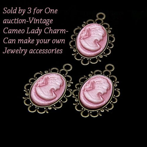 US Sold by 3 for One auction-Vintage Cameo Lady Charm-Can make your own Jewelry accessories for DIY Jewelry