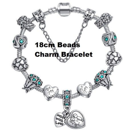 HK Women Charm Beads German Silver Bracelet with Love For Valentine
