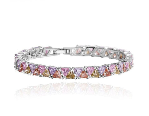 14KT High Quality White Gold Plated Multi Color Zicron Ladies bracelet 6.6 inches