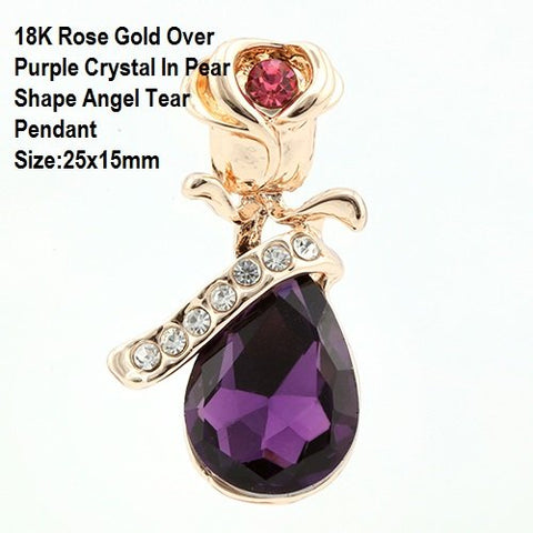 18K Rose Gold- Over Purple Crystal In Pear Shape Angel Tear German Silver Pendant Size:25x15mm