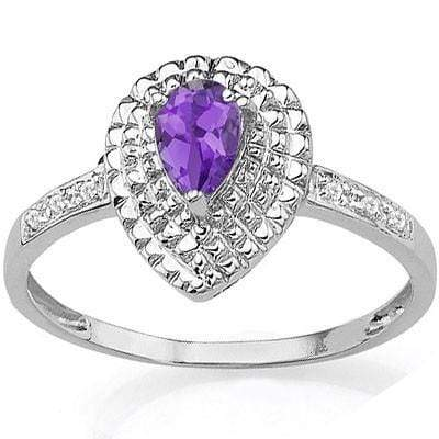 PERFECT 0.37 CT AMETHYST & 2 PCS GENUINE DIAMOND PLATINUM OVER 0.925 STERLING SILVER RING - Wholesalekings.com