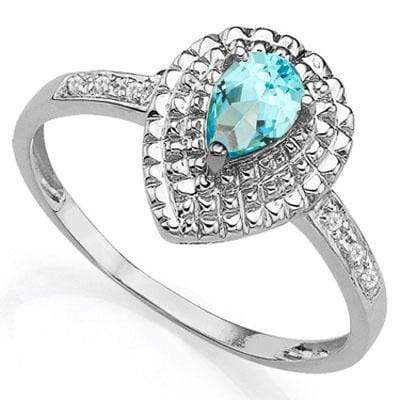 PERFECT 0.48 CT BLUE TOPAZ & 2PCS GENUINE DIAMOND PLATINUM OVER 0.925 STERLING SILVER RING - Wholesalekings.com