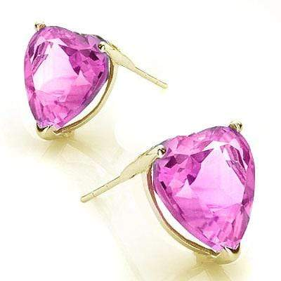 PERFECT 0.9 CARAT TW (2 PCS) CREATED PINK SAPPHIRE 10K SOLID YELLOW GOLD EARRING - Wholesalekings.com