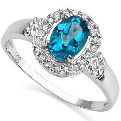 PERFECT 0.97 CT LONDON BLUE TOPAZ & 20 PCS GENUINE DIAMOND 10K SOLID WHITE GOLD RING wholesalekings wholesale silver jewelry