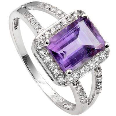 PERFECT 1.50 CT AMETHYST & 28 PCS CREATED WHITE SAPPHIRE PLATINUM OVER 0.925 STERLING SILVER RING - Wholesalekings.com