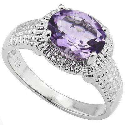 PERFECT 1.64 CARAT  AMETHYST & GENUINE DIAMOND PLATINUM OVER 0.925 STERLING SILVER RING - Wholesalekings.com
