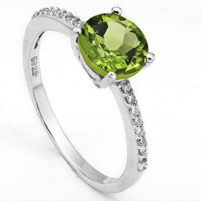PERFECT 1.7 CARAT PERIDOT & CUBIC ZIRCONIA PLATINUM OVER 0.925 STERLING SILVER RING - Wholesalekings.com